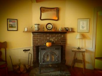 Our wonderful seasonally run wood stove. Nice and cozy.
