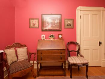 Desk and seating area, Red Romance Room