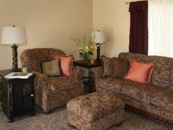Meritage's comfortable living room with television and DVD
