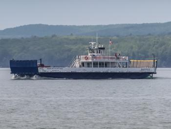 The Marine Vessel Bayfield Heading to Madeline Island!  Our Motel overlooks the Harbor viewing east toward Madeline Island and Baswood Island.