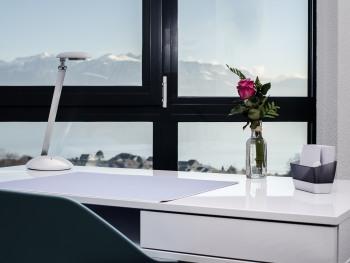Le bureau devant les baies vitrées