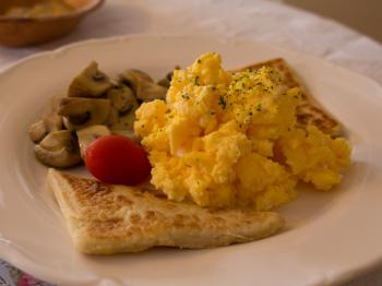 Breakfast vegetarian scrambled eggs choice