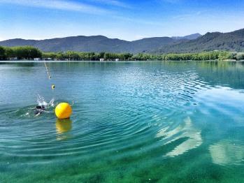 500 metre open water swim lane on the pristine lake of Banyoles