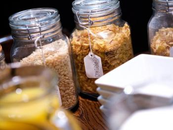 Selection of cereals, fresh pressed juices, teas & coffee's available with full breakfast menu.