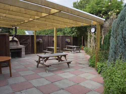 Rear patio and pizza oven
