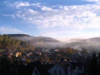 Aussicht vom Balkon oder Dachterrasse in Richtung Haselbach