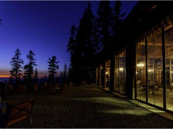 Lodge Building after Sunset