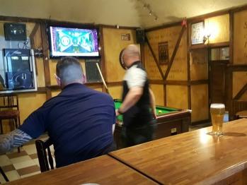 Bar has juke box and pool table