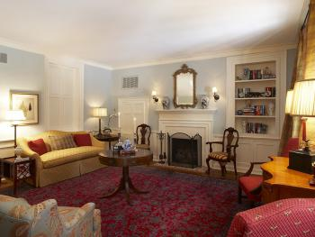 Guests enjoy quiet time and private dining experiences in the Parlor