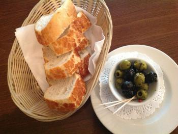 Complementary bread and olives