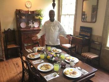 Our Chef/Manager Kevin Deason offers up fresh and delicious southern breakfasts, served in our lovely dining room every morning! Guests order what they want... Shrimp and Grits, GardenSong Omelettes,