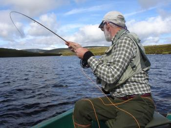 Fly fishing on one of our 10 hill lochs