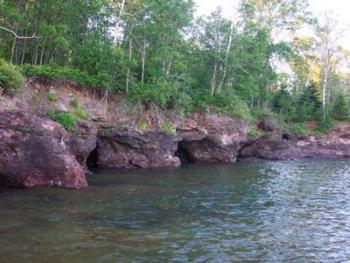 "These ""thunder holes"" can echo loudly when Lake Superior's waves slam into them. It can be quite a thrill to see and hear the lake from our property."
