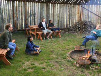 tipi-camp arbor / picnic area with fire-pit and grill