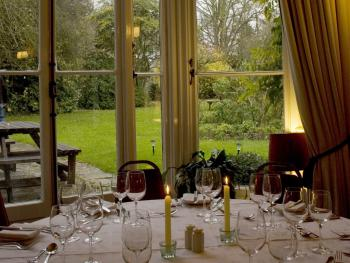 Whilst dining guests can enjoy pretty views of the extensive gardens