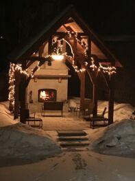 The outdoor Gazebo has a fireplace