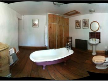 "Family room bathroom.""fisheye"" view"