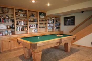 Billiards Table in library and game room