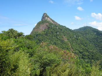 View to the Christ Statue on top of Corcovado mountain within the Tijuca National Park (taken from the road above the B&B).  It is about a 35 min walk (7 min taxi) to the Christ Statue Train station.