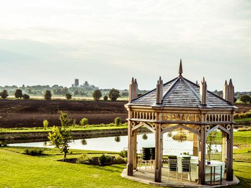 View from our gardens looking our pavillion to Ely Cathedral