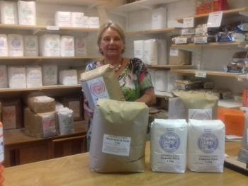 Selecting flour for my home made bread from Caudwell's Mill in Rowsley, Derbyshire