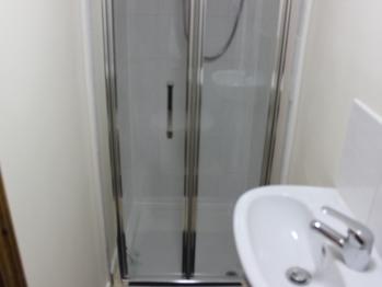 Shower with washing basin unit
