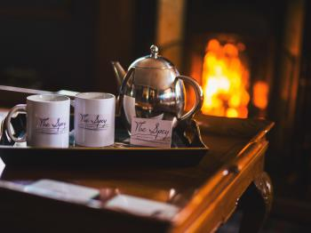 Guest lounge roaring Fire and Tea for Two