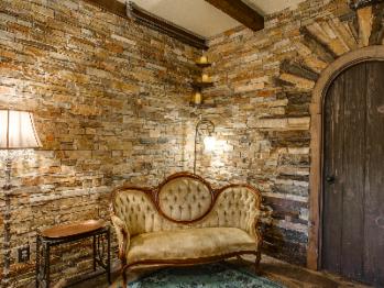 European Antique Sofa in Olde Rose Suite with custom stone interior