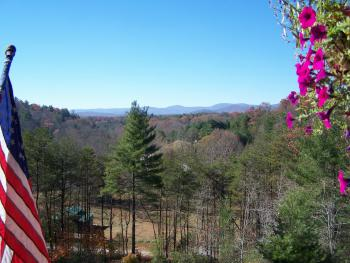 View from the lodge's covered porch