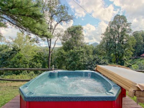 One of two on-site hot tubs.