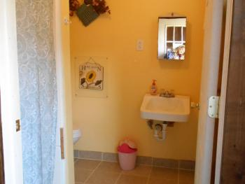 The bathroom, with shower, is downstairs.