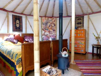 Waterfall Pagoda Yurt interior view