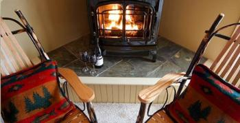 """Several rooms have gas """"wood-stoves"""" ; Room 3, 12, 4, 11"""