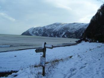 A snowy Lynmouth beach