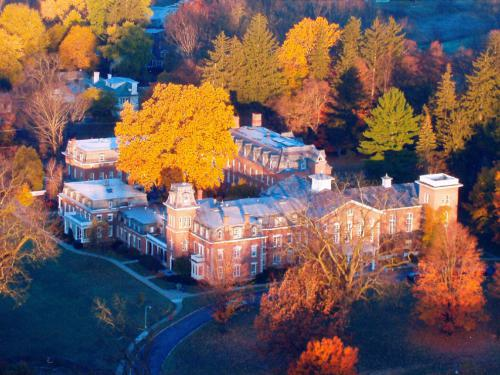 Aerial view of the Mansion House in autumn.