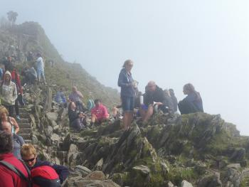 Top of Snowdon its busy at the top..