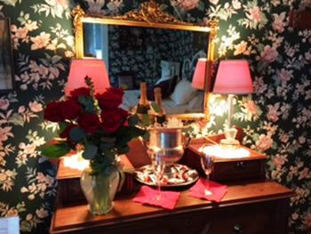 Romance Package-roses, chocolates and champagne awaiting guests in the Florence Myrna Room.