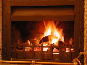 Roaring log fire completes the atmosphere in winter