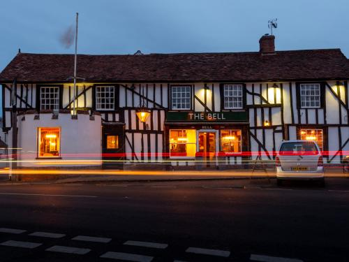 The Bell Hotel outside at dusk