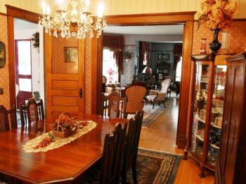 Guests enjoy breakfast served in the dining room adjoining the parlors and east porch.
