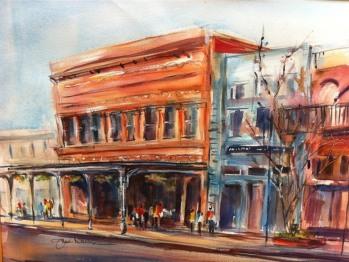 Inn on Whitworth Exterior - Watercolor by Janie Davis