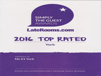 Awards - LateRooms.com 2016 - Top Rated B&B