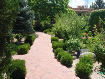 All our pathway between rooms and to the office in the backgound are brick. Gardens on both sides of path.