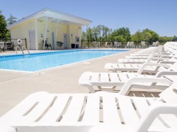 Saltwater pool and poolhouse