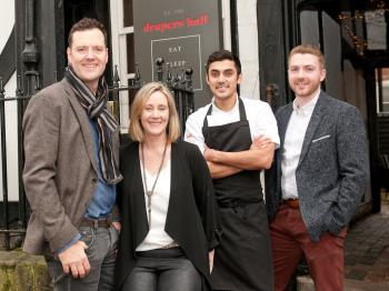 Owners Edward and Louise Taylor with Head chef Richard Nair and Robert Jones