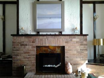 Fireplace in guest lounge