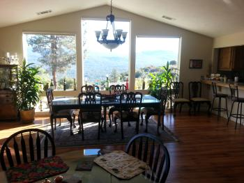 Breakfast in our dining room or out on the balcony. Either way you get a view of the Sierra Mountains.