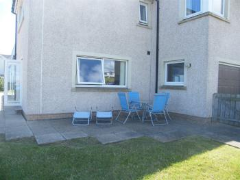 patio and lawned area