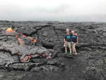 Hiking on the lava flow