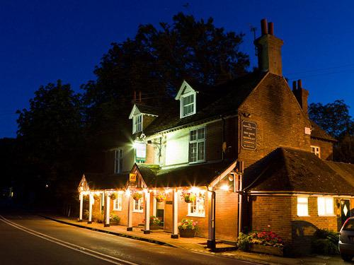 The Blacksmiths Arms is a welcoming sight at night